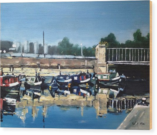 Boats Of Regent's Canal  London Uk Wood Print by Victor SOTO