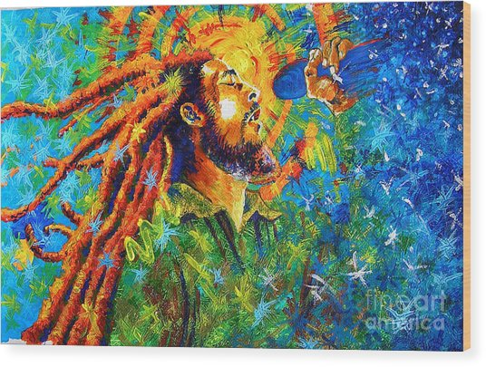 Bob Marley's Tribute Wood Print by Jose Miguel Barrionuevo