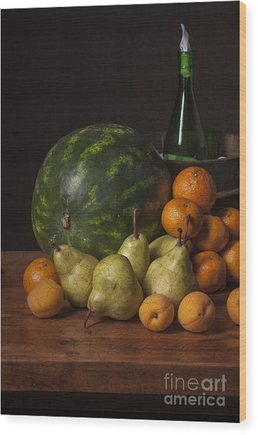 Bodegon - Watermelon-pears And Cooler Wood Print