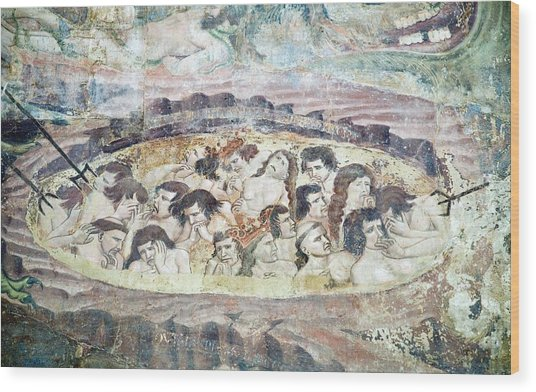 Boiling In Hell, 14th Century Fresco Wood Print by Sheila Terry