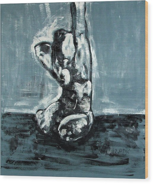 Bold Expressionistic Figure Painting Of Nude Female Reaching Upward To The Sky With Her Arm In Bw Wood Print