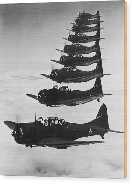 Bombers In Flight Wood Print by Archive Photos