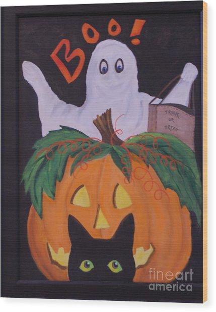 Boo-happy Halloween Wood Print by Janna Columbus