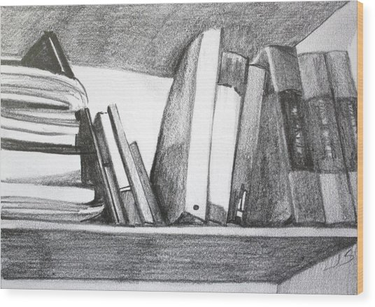 Books On A Shelf Wood Print