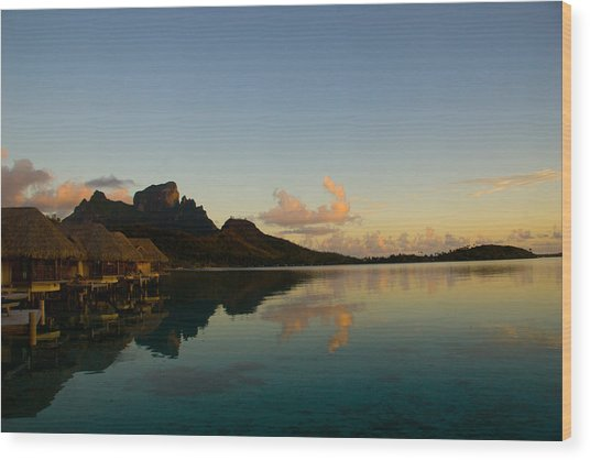 Bora Bora Dawn Wood Print by Benjamin Clark