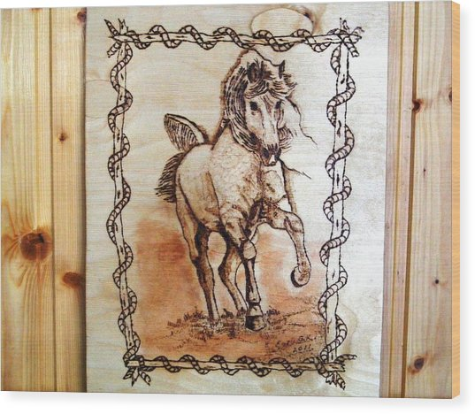 Born To Be Free-sylver  Horse Pyrography Wood Print by Egri George-Christian