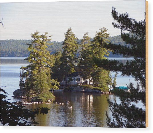 Boshkung Lake Island Cottage Wood Print