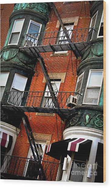 Boston House Fragment Wood Print