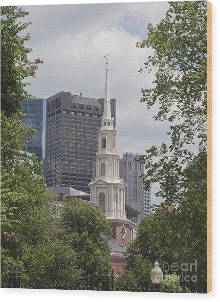 Boston Old And New Wood Print