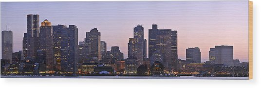 Boston Skyline At Sunset Wood Print