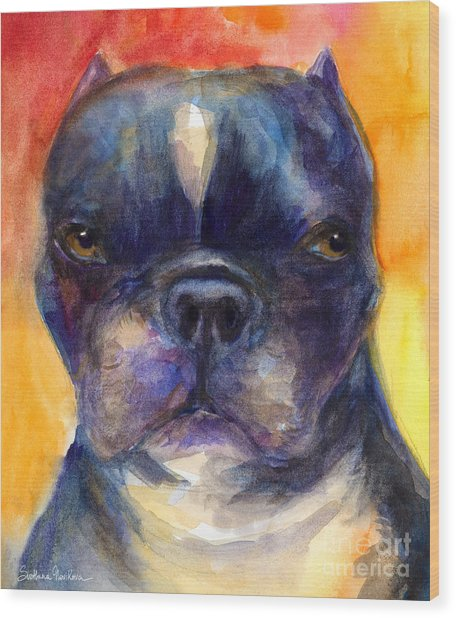Boston Terrier Dog Portrait Painting In Watercolor Wood Print