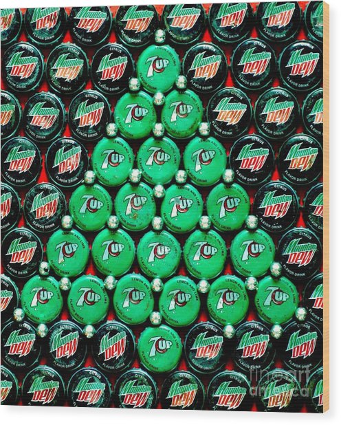 Bottle Caps Christmas Tree Wood Print