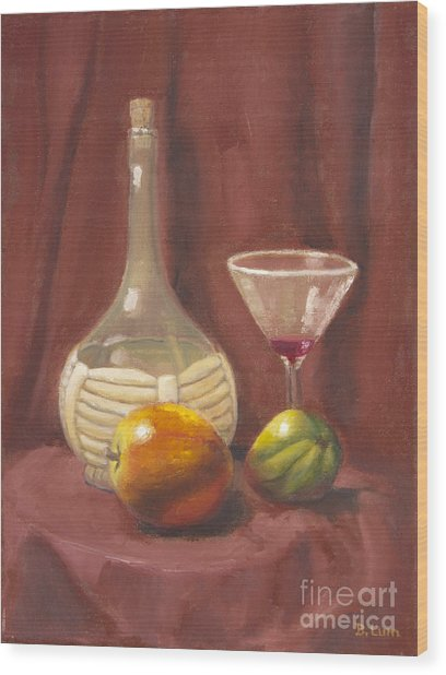 Bottle Glass And Fruits Wood Print by Bruce Lum
