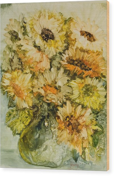 Bouquet Of Sunflowers Wood Print