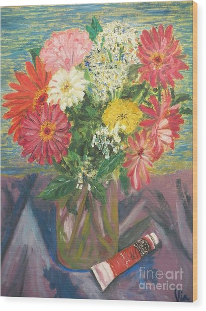 Bouquet With Paint Wood Print by Judy Via-Wolff
