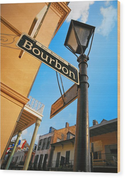 Bourbon Street New Orleans Wood Print