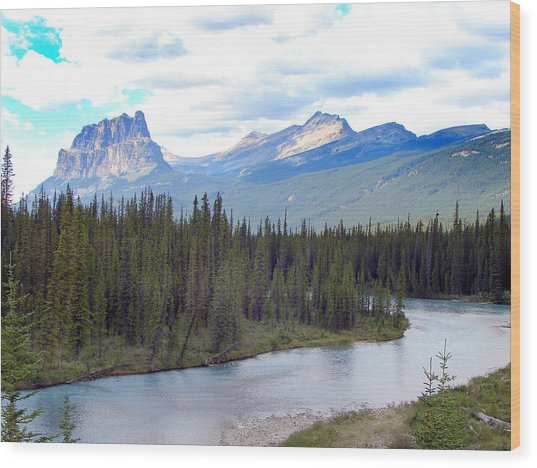 Bow River By Castle Mountain Wood Print