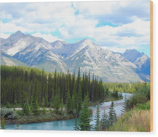 Bow River Near Canmore Alberta Wood Print
