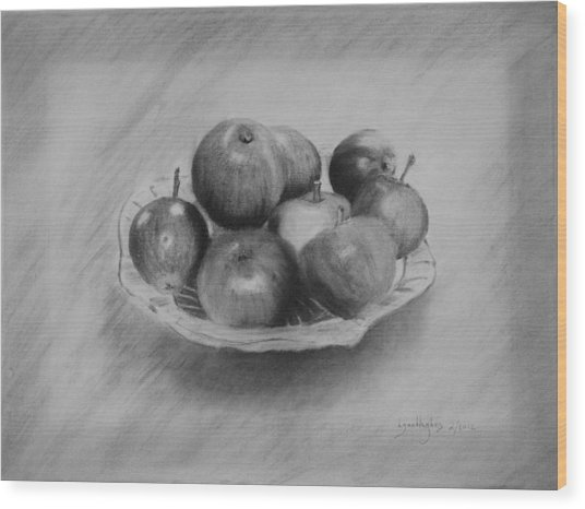 Bowl Of Apples Wood Print