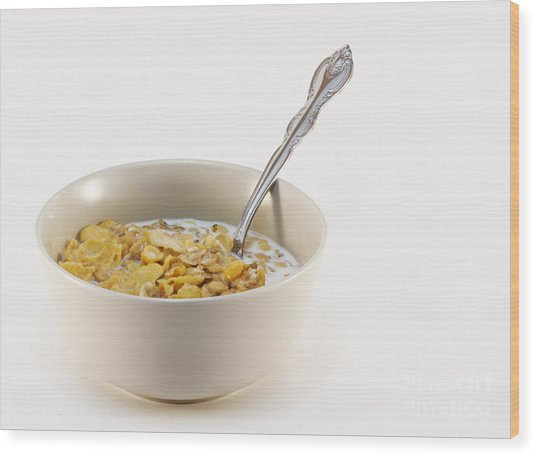 Bowl Of Cereal Wood Print by Blink Images