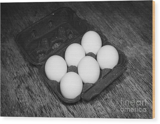 Box Of Half Dozen White Organic Fresh Eggs Wood Print by Joe Fox
