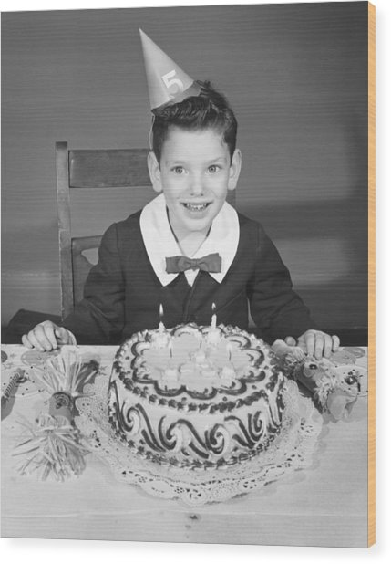 Boy (2-3) In Party Hat With Birthday Cake, (b&w),, Portrait Wood Print by George Marks