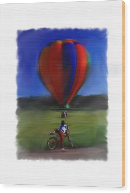 Boy  And Balloon Wood Print