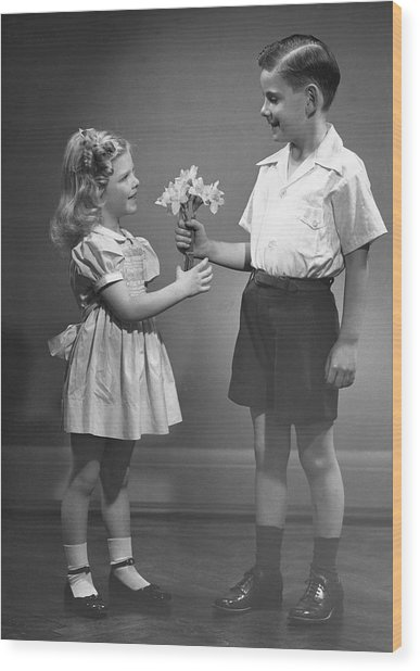 Boy Giving Flowers To Girl Wood Print by George Marks