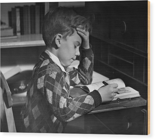Boy In Classroom W/book Wood Print by George Marks