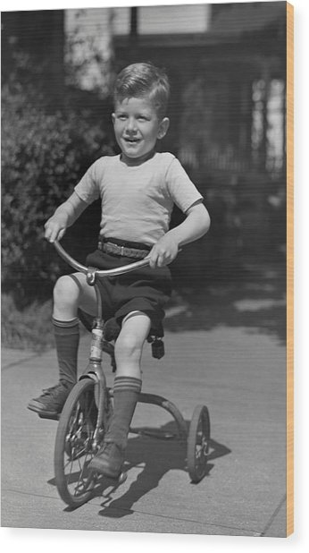 Boy On Tricycle Wood Print by George Marks