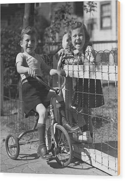 Boy On Tricycle W/ Girl Wood Print by George Marks