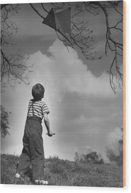 Boy Outdoors Wood Print by George Marks