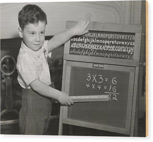 Boy Playing School Wood Print by George Marks