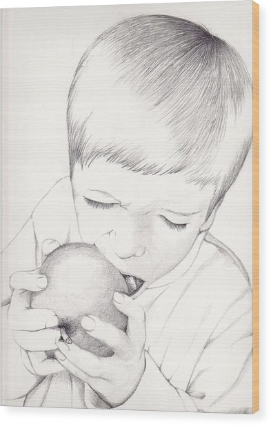 Boy With Apple Wood Print
