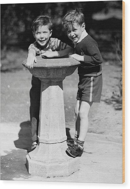 Boys At Drinking Fountain Wood Print by George Marks
