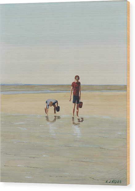Boys Clamming Wood Print by Anthony Ross