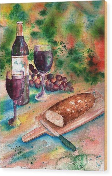Bread And Wine Wood Print