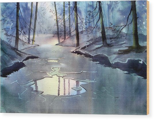 Breaking Ice Wood Print