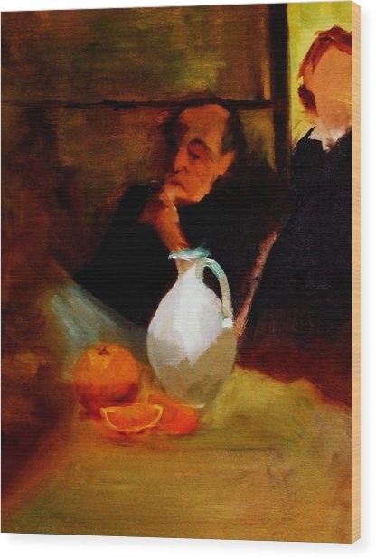 Breaktime With Oranges And Milk Jug Man Deep In Philosophical Thought With Mysterious Boy Servant Wood Print