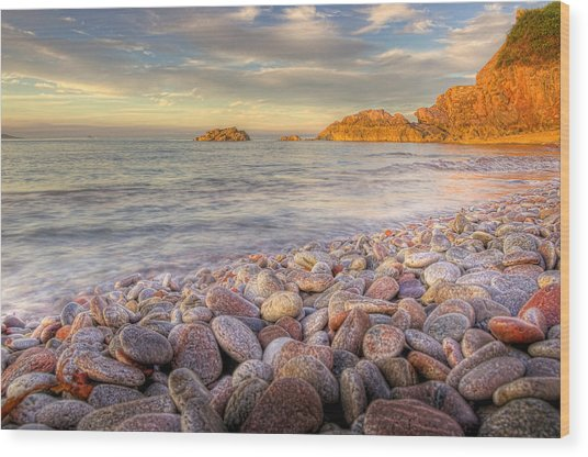 Breakwater Beach Wood Print by Phil Hemsley