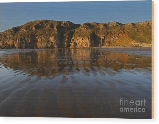 Brean Down Reflection Wood Print by Urban Shooters