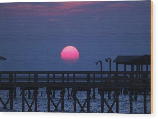 Breathtaking Sunset Over Calcasieu Lake Pier Wood Print by Debi York