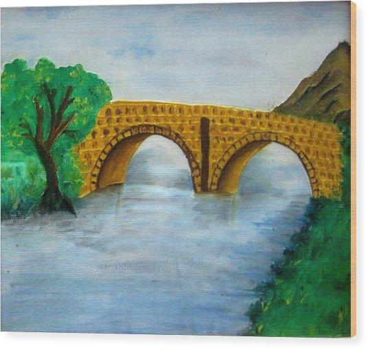 Bridge-acrylic Painting Wood Print by Rejeena Niaz