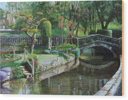 Bridge And Garden - Bakewell - Derbyshire Wood Print