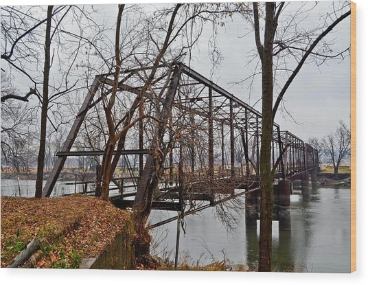 Bridge At Winter Wood Print by Brenda Becker