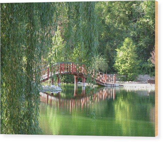 Bridge Beyond The Willows Wood Print
