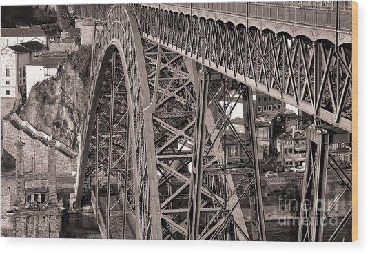 Bridge Construction Wood Print