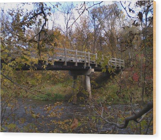 Bridge On The Sunrise River Wood Print