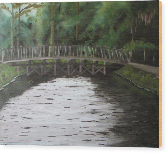 Bridge  Over River Wood Print by Iris Nazario Dziadul