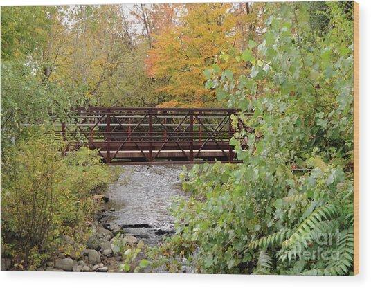 Bridge Over River Wood Print